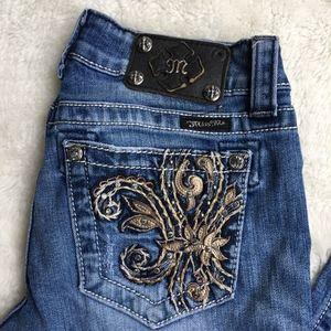 """Miss Me Fleur de Lis Skinny Jeans Size 28x31"""""""